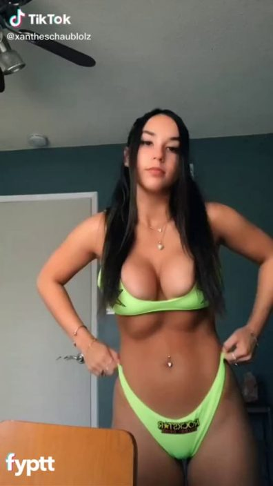 Girl with sexy big boobs that almost fell off her bra on TikTok