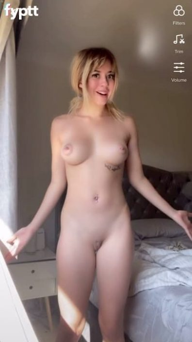Pretty naked TikTok blonde with perfect tiddies and ass dancing to 'This Could Be Us'