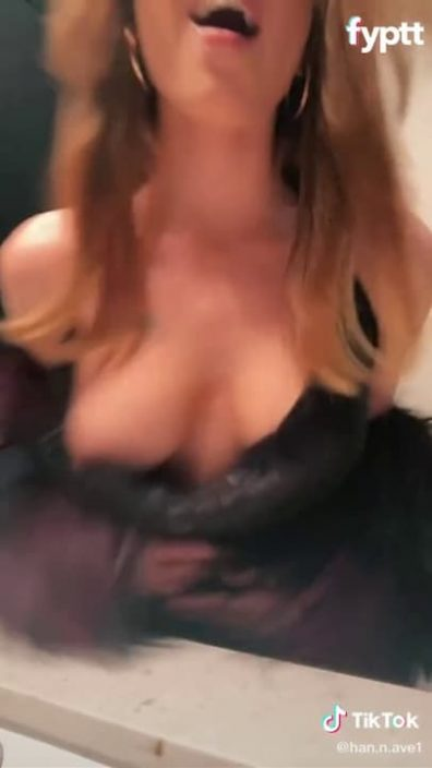 Quick nip slip in party outfit on sexy TikTok