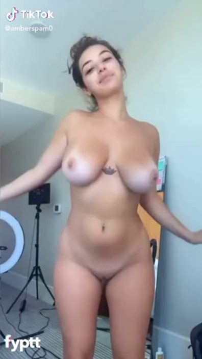 Latina with super hot tits and big ass dancing naked on TikTok