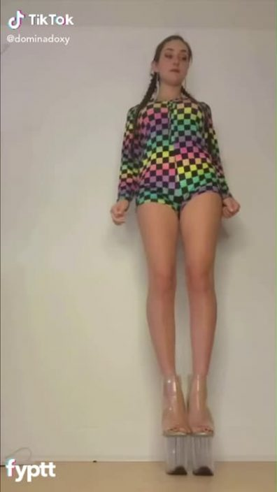 Domina dancing naked on TikTok with pretty high heels